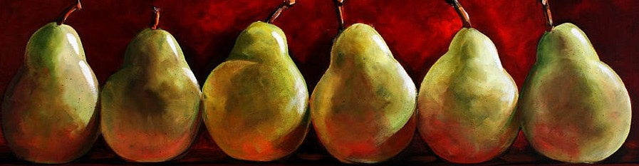 green-pears-on-red-toni-grote